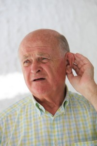 Elderly man hard of hearing